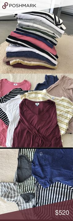 The ULTIMATE Tee Bundle This bundle includes 13 tops ranging from NWT to NWOT to lightly worn! Such a steal at this price! Brands include J Crew, Old Navy, H&M & Piko! Sizes range from small to large, but would work best for a medium! (Meaning the smalls run a bit looser and the largest look best oversized!) moving overseas and these are the tees that wouldn't fit while I was packing! Retail at over $500!!!!!! J. Crew Tops