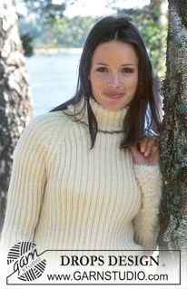 DROPS Ribbed Pullover in Karisma Superwash with long cuffs in Puddel. Short Vest in Puddel. ~ DROPS Design