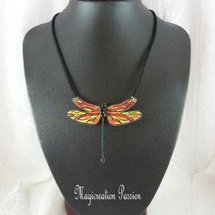 Jaune Orange, Polyester, Jewelry, Fashion, Pendant Necklace, Red, Long Choker Necklace, Black Metal, Damselflies