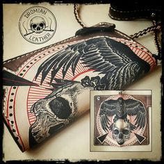 Leather wallet #tattooedleather #handcraft #tattoo #inkleather #skulltattoo #leathercraft #leatherwallet #ink #inkleather