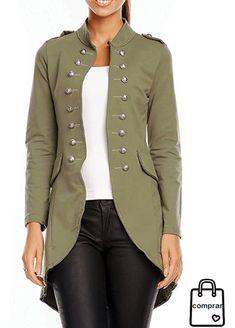 fashion chaquetamilitar Abrigos Chaqueta chaquetas mujer moda Militar Mujer 664xfX