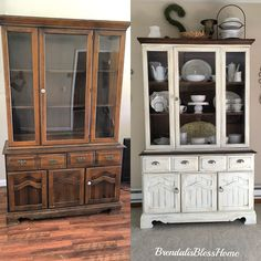 Found this cute China cabinet in the thrift store. After 2 days this is the end result I use valspar chalk paint from lowes