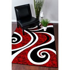 Shop for Persian Rugs Modern Trendz Collection Red/ Black Rug x - x Get free delivery On EVERYTHING* Overstock - Your Online Home Decor Store! Contemporary Area Rugs, Modern Rugs, Room Rugs, Rugs In Living Room, Curtains Living, Rug Inspiration, Retro Stil, White Area Rug, White Rugs