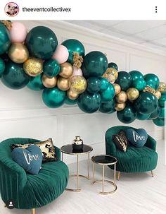 Green Party Decorations, Birthday Party Decorations, Baby Shower Decorations, Party Themes, Party Ideas, Deco Nouvel An, Deco Ballon, Custom Balloons, Baby Shower Balloons