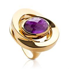 La Diosa honeymoon ring in amethyst ( my birthstone) &18 carat gold   .........La Diosa means the goddess..........por favor means please
