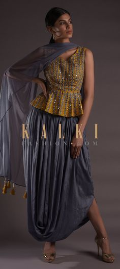 Buy Online from the link below. We ship worldwide (Free Shipping over US$100)  Click Anywhere to Tag Seal Grey Skirt With Cowl Drape And Mustard Yellow Peplum Top Online - Kalki Fashion Seal grey skirt in satin crepe with cowl drape.Paired with a contrasting mustard yellow peplum top in raw silk.Embellished with mirror abla, zardozi, resham and beads in geometric pattern. Gray Skirt, Gray Dress, Grey Suit Combinations, Yellow Suit, Draped Skirt, Indian Designer Outfits, Straight Cut, Indian Bridal, Kurtis