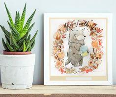 Nursery Art, Custom Name, New Baby Gift,Forest Animals, Nursery Decor, Woodland nursery, Wolf watercolor painting, Baby Shower Gift.