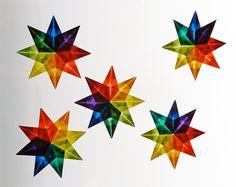 DIY 5 Star Kit, Eight Pointed Stars, Kite Paper to make folded Stars. Makes great Stocking Stuffer Christmas Gift - from Handwork Studio by handworkstudio on Etsy