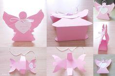 Lembrancinha para Batizado em forma de anjo.  Porta doce anjo. Angel treat box. Baptism favor.  Christening souvenir. #baptismfavor  #angelbox #DIY #christeningsouvenir