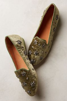 Antik Batik Lord Loafers from Anthropologie, Blinged out flats for your holiday festivities!