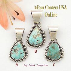 Petite Dry Creek Turquoise Sterling Pendant Navajo Artisan Alice Johnson NAP-1563 Four Corners USA OnLine Native American Jewelry