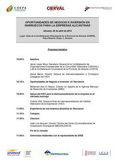 """Jornada """"Oportunidades de negocio e inversión en el Reino de Marruecos para las empresas alicantinas"""""""