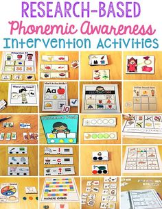 These phonemic awareness activities are perfect for intervention groups or small groups of kindergarten and pre-kindergarten students who are developing their phonemic awareness skills. Phonemic Awareness Kindergarten, Phonological Awareness Activities, Kindergarten Literacy, Reading Intervention Kindergarten, Literacy Centers, Early Literacy, Reading Assessment, Literacy Programs, Literacy Stations