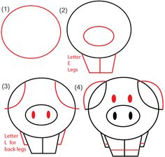 step circle piggy steps big guide to drawing cartoon pigs with basic shapes for kids - Simple Drawing For Children