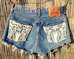 Love the simplicity and feminine touch that the lace adds to these light washed denim shorts.