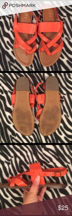 Ann Taylor LOFT Sandals Excellent condition. Soles show some wear. Leather uppers are very clean, one dark spot, see photos. Barely noticeable. Insoles are also very clean. Orange leather, manmade soles. (Note: my foot is too large to model these.) Ann Taylor Shoes Sandals