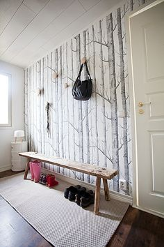 Birch Tree Wallpaper Kitchen Cole And Son 20 Ideas For 2019 Tree Wallpaper Design, Grey Pattern Wallpaper, Birch Tree Wallpaper, Wood Effect Wallpaper, Grey Wallpaper, Modern Wallpaper, Wallpaper Wallpapers, Shabby Chic Tapete, Minimalist Home
