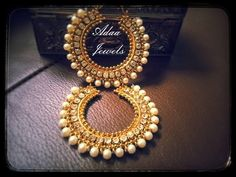 Indian vintage style earrings patrywear jewellery. bollywood chand bala, jhumka