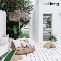 Three Birds on Real Living Outdoor Areas, Outdoor Lounge, Outdoor Rooms, Outdoor Living, Outdoor Decor, Real Living Magazine, Inexpensive Patio, Estilo Tropical, Outside Seating