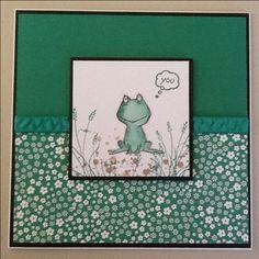 SU Green Envy card, paper, ink. SU Love You Lots stamp set. SU Swirly Birds stamp set. SU wetlands stamp set.