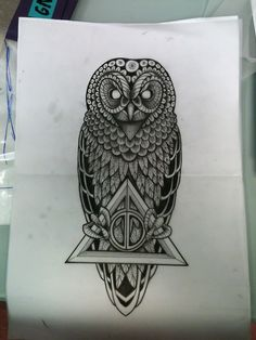 One of the most badass Harry Potter tattoos I've seen! I would want the owl to look kinder, sweeter, more like hedwig. Harry Potter Tattoos, Harry Potter Owl, Hedwig Tattoo, Buho Tattoo, Future Tattoos, Skin Art, Art Plastique, Cool Tattoos, Badass Tattoos