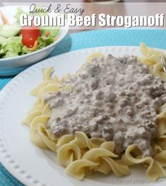 Without mushrooms!  Quick & Easy Ground Beef Stroganoff Recipe Main Dishes with ground beef, cream of mushroom soup, sour cream, onion powder, beef bouillon, water, egg noodles