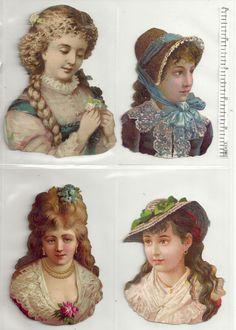 4 Album Scrap Die Cuts Women Head and Shoulders Full color Circa Head & Shoulders, Die Cutting, Altered Art, Paper Dolls, Scrap, Victorian, Princess Zelda, Album, Color