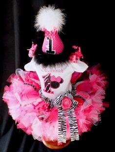 Minnie Mouse Hot Pink Zebra Birthday Petti Tutu by PoshPinkTutus