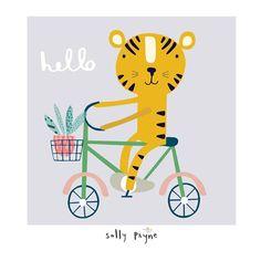 "• S A L L Y P A Y N E • UK on Instagram: ""Hello October! #nearlyautumn #tigeronabike #childrensillustration #illustration #kidsdesign"" Bicycle Illustration, Tiger Illustration, Character Illustration, Kids Prints, Baby Prints, Hello October Images, Baby Bike, Tiger Art, Cute Images"