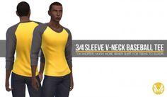 Simsational designs: 3/4 Sleeve V-neck Baseball Tee • Sims 4 Downloads