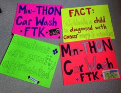 Check out these awesome signs made by Mini-THON students at Pennsbury High School to raise awareness for their upcoming car wash fundraiser!