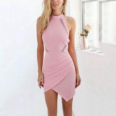 Sexy Pink Halter Neck Off Shoulder Bodycon Dress