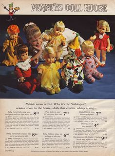 JCPenny 1966_ Christmas catalog Page 216 - Talking dolls: Baby Colleen, Baby Secret,Patootie the clown, Baby Cheryl, Baby Teenietalk and Drowsy. Mattel dolls - Penney's Doll House