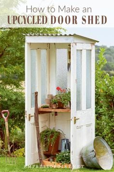 How to Make a Potting Shed from Old Doors Make your own mini door shed with this tutorial from the book Upcycling Outdoors. The post How to Make a Potting Shed from Old Doors appeared first on Woodworking Diy. Garden Shed Diy, Garden Doors, Diy Shed, Garden Art, Painted Garden Sheds, Upcycled Garden, Big Garden, Easy Garden, Indoor Garden