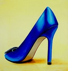 Manolo Blahnik 2- Still Life Painting Of Women High Heels Blue Manolo Blahnik Shoe, painting by artist Gerard Boersma