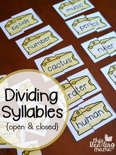 "Dividing Syllables - Open and Closed Syllables with ""Cut the Cheese"" Cards - This Reading Mama"