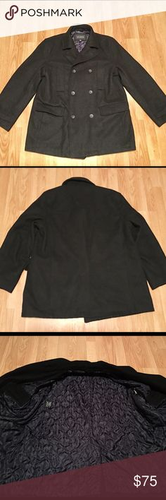 Men's Guess Peacoat Heavy duty warm men's peacoat. Black and lined interior. In near perfect condition. Photo of the tag with the fabrics. Two chest pockets and two lower pockets. Backside has a slit in the bottom center for a good fit. No trades. Smoke free. Guess Jackets & Coats Pea Coats