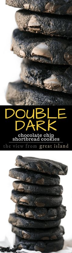 Double Dark Chocolate Chip Shortbread Cookies ~ they melt in your mouth with an explosion of deep rich chocolate that'll make your eyelids flutter. to call it a cookie is to completely miss the point. Chocolate Chip Shortbread Cookies, Dark Chocolate Cookies, Shortbread Recipes, Dark Chocolate Chips, Chocolate Truffles, Cookie Desserts, Just Desserts, Cookie Recipes, Delicious Desserts