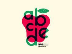 Poster design layout typography apple fruit leaf multiply mode