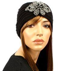 Sparkle Beads Floral Ribbed Hand Knit Handmade Headwrap Headband Ski Black S/M SK Hat shop. $14.95