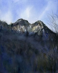 """Chimney Tops Mountain"" by Tennessee Artist and Illustrator Chris Ousley. watercolor - 10""x8""."
