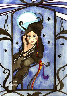 Goddess Art Original Watercolor Painting Moon Goddess Night Goddess Finnish Mythology and Folklore Goddess Painting by Niina Niskanen Goddess Art, Moon Goddess, Illustration Artists, Watercolor Illustration, Watercolor Artists, Watercolor Paintings, Original Artwork, Original Paintings, Artist Card
