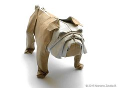 Sculpture Origami Bulldog. Leather Paper. by MarianoOrigamiArt