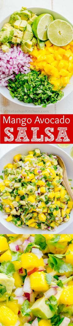 This sweet, chunky fresh mango salsa with avocado is excellent with chips or over tacos, chicken or fish. A 5-minute, 5-ingredient easy mango salsa recipe. | natashaskitchen.com (Gluten Free Mexican Recipes)