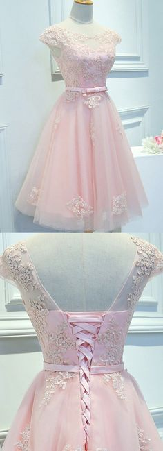 Short Prom Dresses, Pink Prom Dresses, Beautiful Prom Dresses, Prom Dresses Short, Short Pink Prom Dresses, Homecoming Dresses Short, Short Homecoming Dresses, Pink Homecoming Dresses, Short Party Dresses, Beautiful Homecoming Dress Scoop Pink Lace-up Short Prom Dress Party Dress