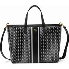 Tory Burch Gemini Link Small Tote - Black Gemini Link Stripe ($178) ❤ liked on Polyvore featuring bags, handbags, tote bags, stripe tote, tory burch, stripe tote bag, handbags tote bags and tote bag purse