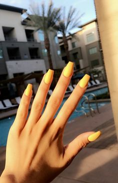 11 Yellow mattte coffin acrylic Nails 2018 2019 - New Ideas Chic Nail Art, Chic Nails, Fun Nails, Style Nails, Shellac Nails, Manicures, Nail Polish, Nail Nail, Stiletto Nails