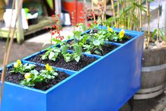 DIY planter with old filing cabinet | drill holes in the back for drainage