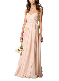 DescriptionJenny YooMiraFulllength bridesmaid dressStrapless, sweetheartneckline with shirred bodiceConvertible style with long chiffon panels and detachable sashNatural waistlineLuxe chiffon