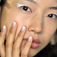 Brushed white tip nail trend| @andwhatelse